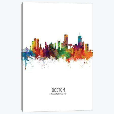 Boston Massachusetts Skyline Portrait Canvas Print #MTO2491} by Michael Tompsett Art Print