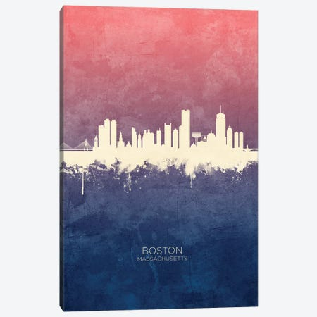 Boston Massachusetts Skyline Blue Rose Canvas Print #MTO2492} by Michael Tompsett Canvas Print