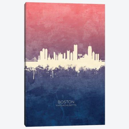 Boston Massachusetts Skyline Blue Rose Canvas Print #MTO2492} by Michael Tompsett Canvas Print