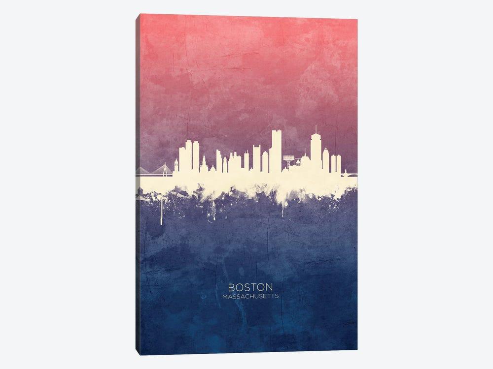 Boston Massachusetts Skyline Blue Rose by Michael Tompsett 1-piece Art Print