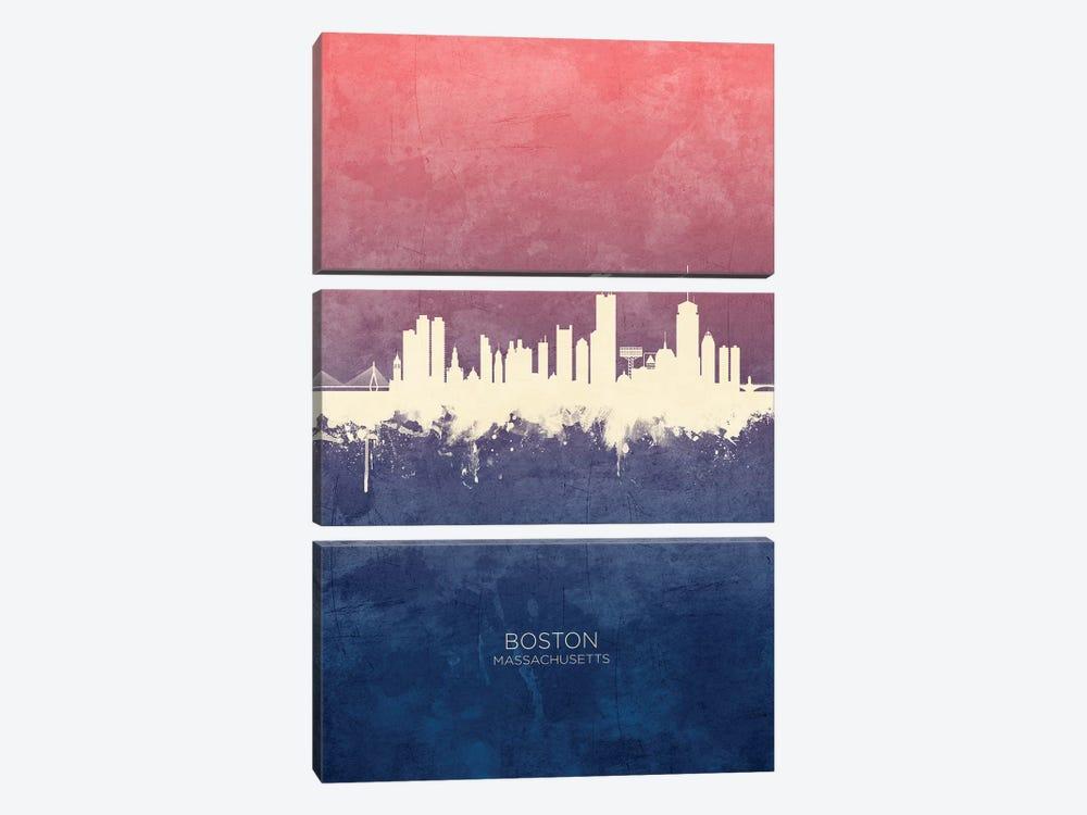 Boston Massachusetts Skyline Blue Rose by Michael Tompsett 3-piece Art Print