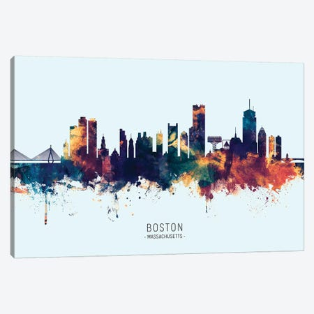 Boston Massachusetts Skyline Blue Orange Canvas Print #MTO2493} by Michael Tompsett Art Print