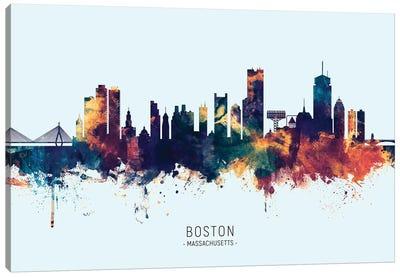 Boston Massachusetts Skyline Blue Orange Canvas Art Print