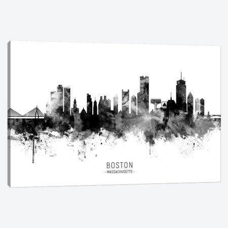 Boston Massachusetts Skyline Name Black And White Canvas Print #MTO2495} by Michael Tompsett Canvas Wall Art