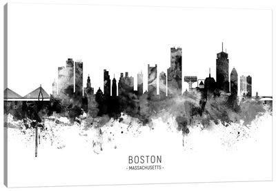 Boston Massachusetts Skyline Name Black And White Canvas Art Print