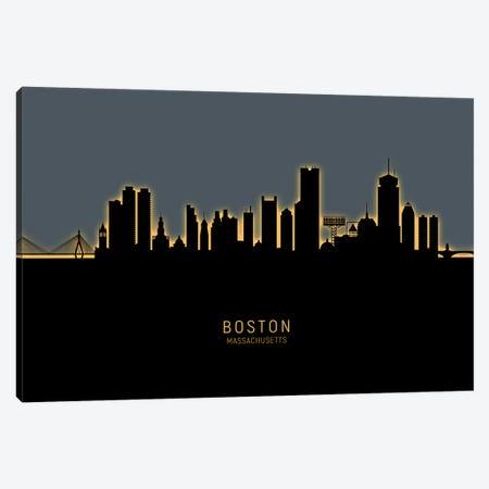 Boston Massachusetts Skyline Glow Orange Canvas Print #MTO2496} by Michael Tompsett Canvas Art