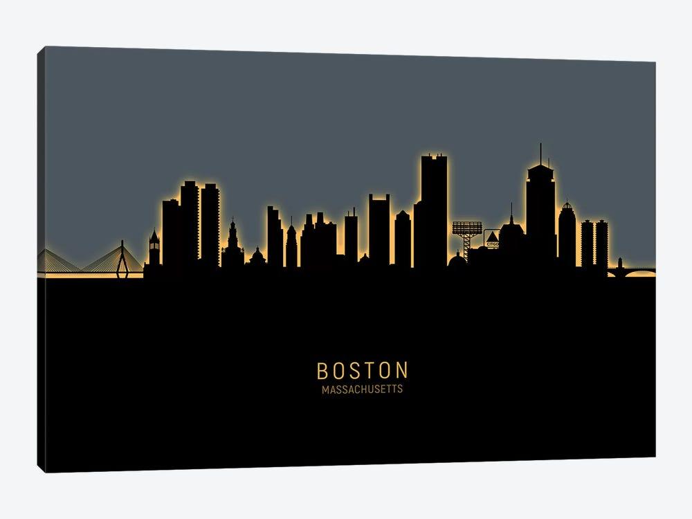 Boston Massachusetts Skyline Glow Orange by Michael Tompsett 1-piece Art Print