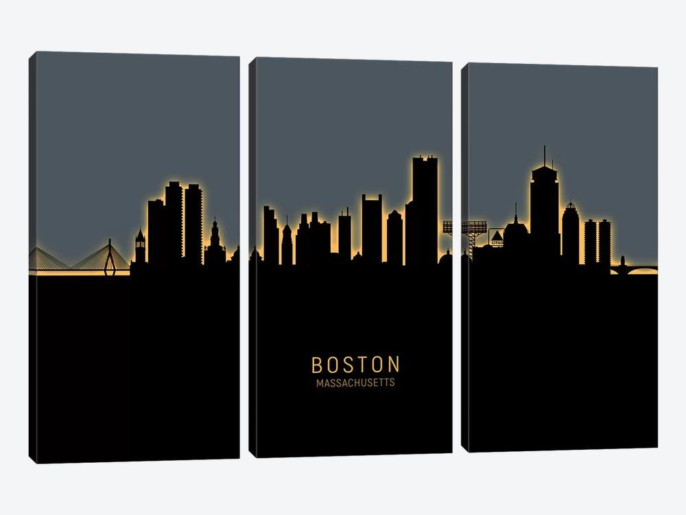 Boston Massachusetts Skyline Glow Orange by Michael Tompsett 3-piece Art Print