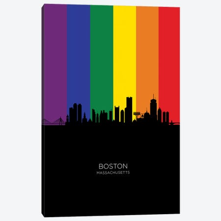 Boston Skyline Rainbow Flag Canvas Print #MTO2497} by Michael Tompsett Canvas Art