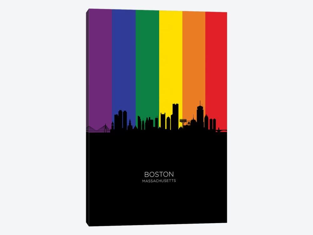 Boston Skyline Rainbow Flag by Michael Tompsett 1-piece Canvas Artwork