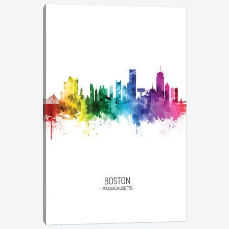 Boston Skyline Rainbow Tall Canvas Print #MTO2498} by Michael Tompsett Canvas Print