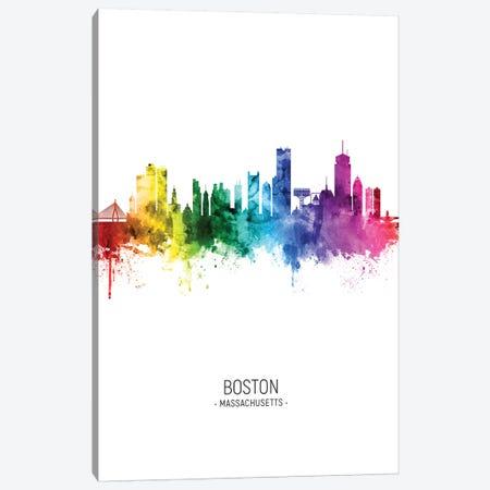 Boston Skyline Rainbow Tall Canvas Print #MTO2498} by Michael Tompsett Canvas Print