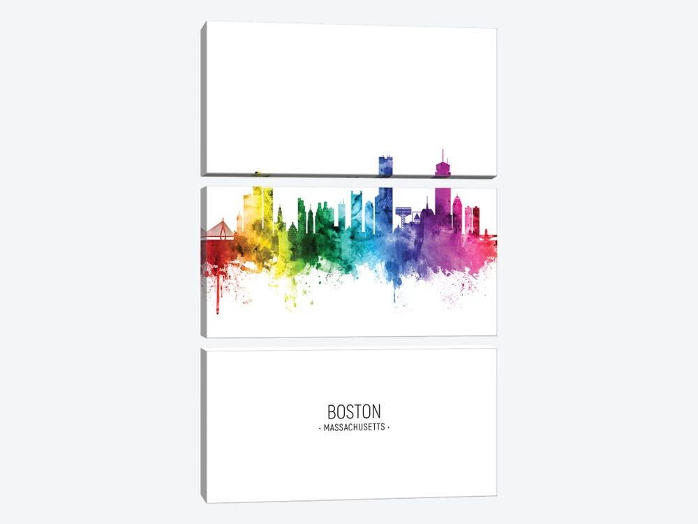 Boston Skyline Rainbow Tall by Michael Tompsett 3-piece Canvas Art Print