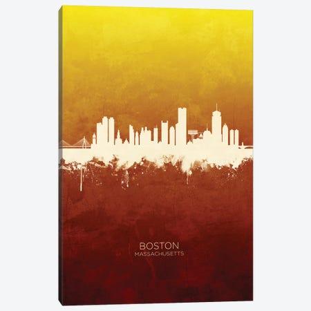 Boston Massachusetts Skyline Red Gold Canvas Print #MTO2499} by Michael Tompsett Art Print