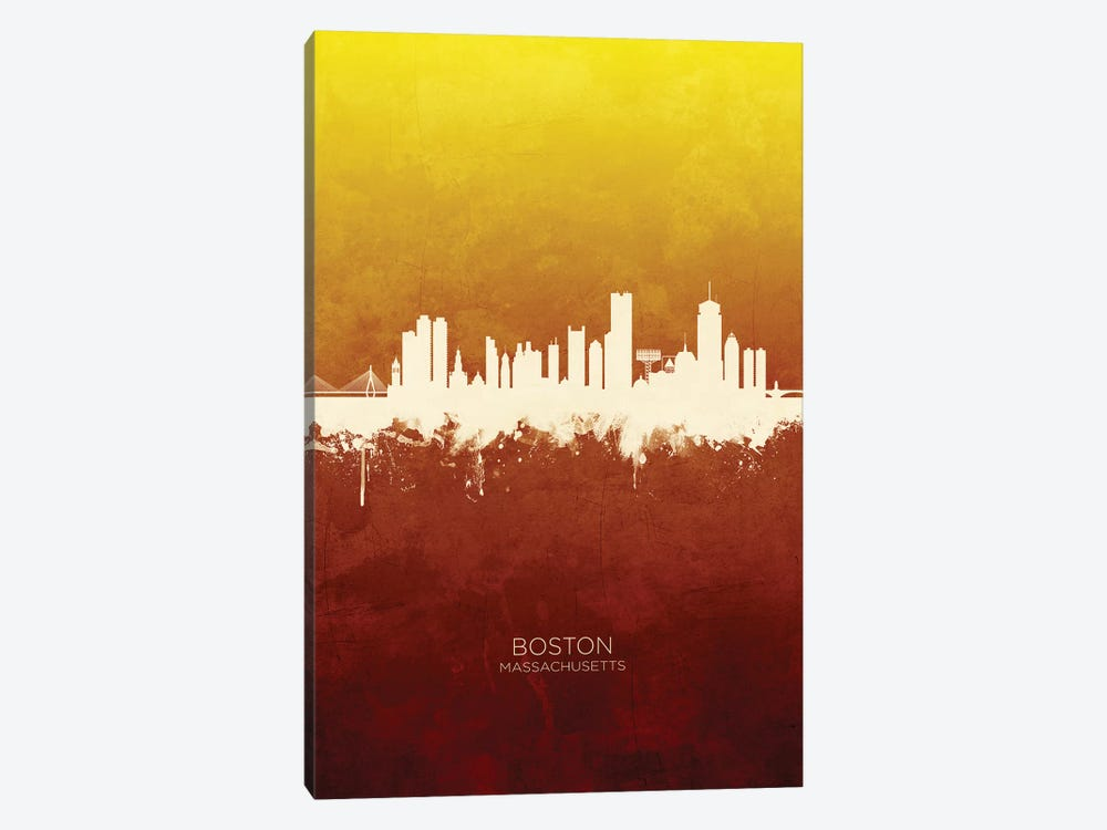Boston Massachusetts Skyline Red Gold by Michael Tompsett 1-piece Canvas Artwork