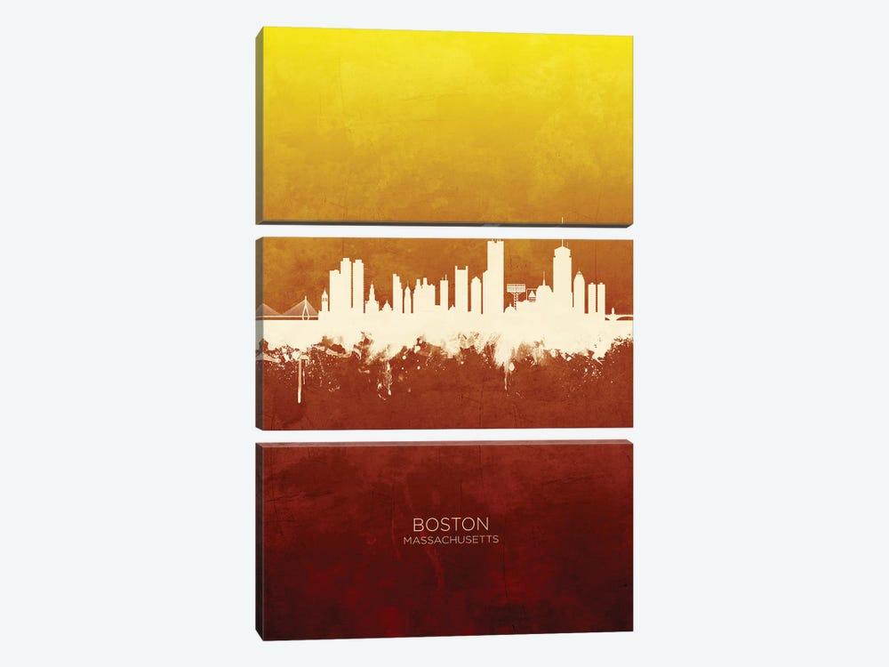 Boston Massachusetts Skyline Red Gold by Michael Tompsett 3-piece Canvas Art