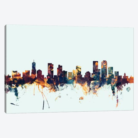 Denver, Colorado, USA On Blue Canvas Print #MTO249} by Michael Tompsett Art Print