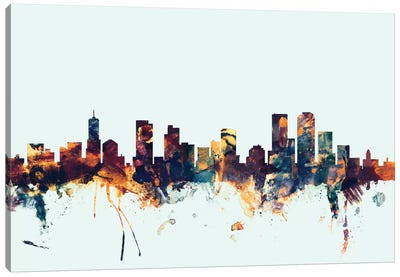 Skyline Series: Denver, Colorado, USA On Blue Canvas Art Print