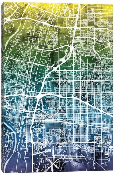 Color Gradient Urban Street Map Series: Albuquerque, New Mexico, USA Canvas Print #MTO24