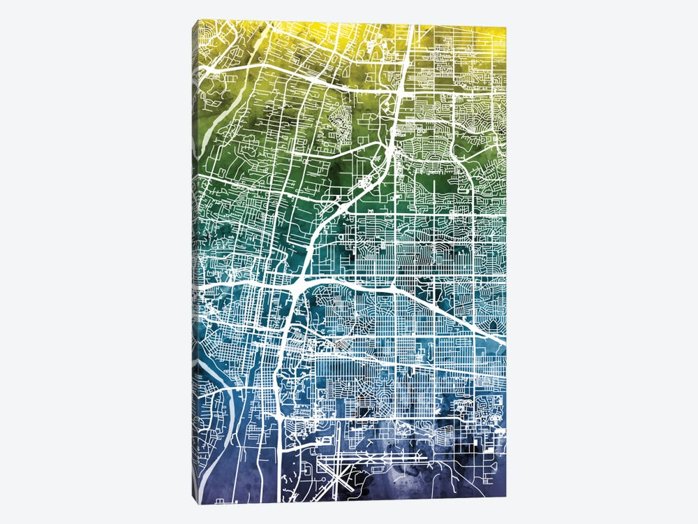Color Gradient Urban Street Map Series: Albuquerque, New Mexico, USA 1-piece Art Print
