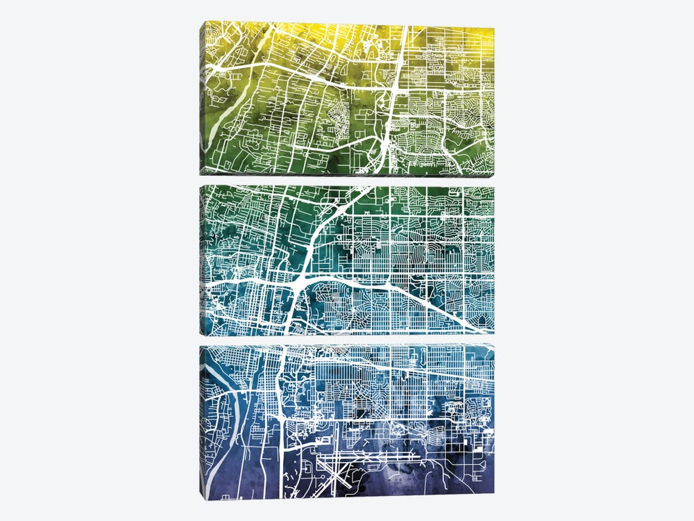 Color Gradient Urban Street Map Series: Albuquerque, New Mexico, USA 3-piece Art Print