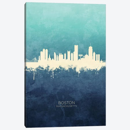 Boston Massachusetts Skyline Navy Cyan Canvas Print #MTO2501} by Michael Tompsett Canvas Print