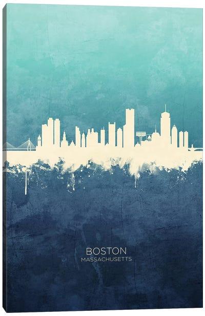 Boston Massachusetts Skyline Navy Cyan Canvas Art Print