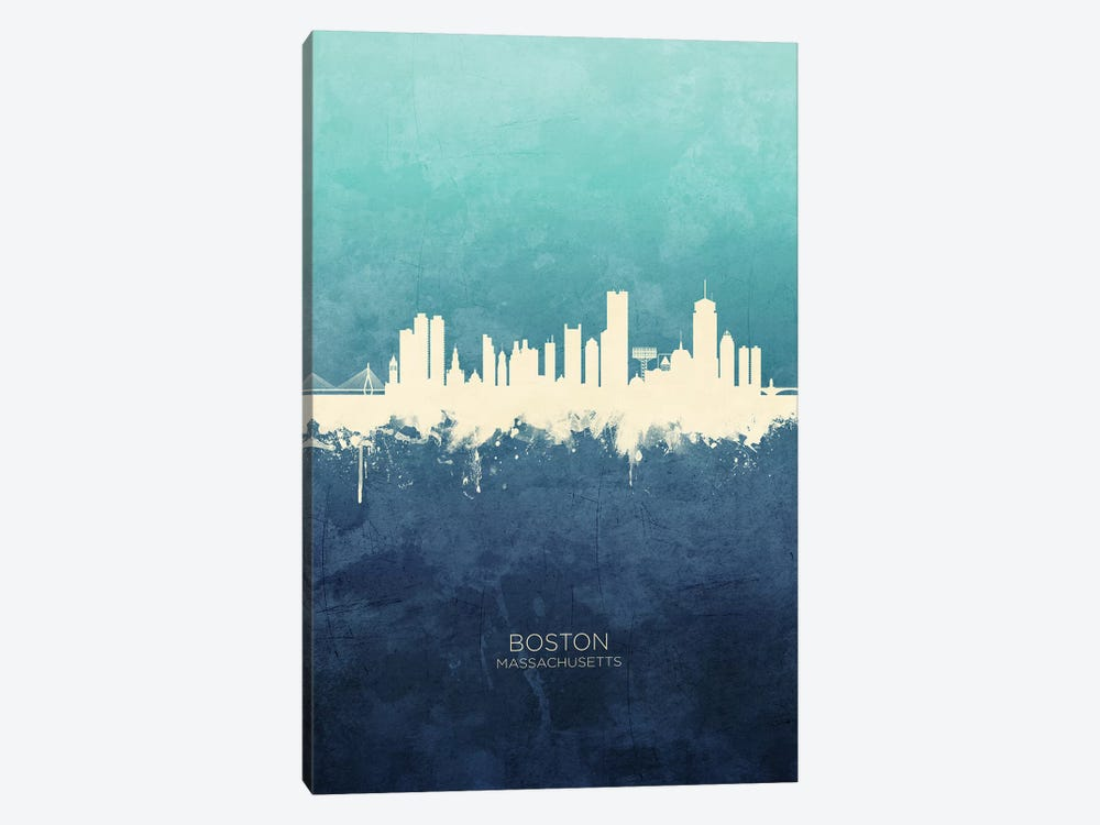 Boston Massachusetts Skyline Navy Cyan by Michael Tompsett 1-piece Canvas Art
