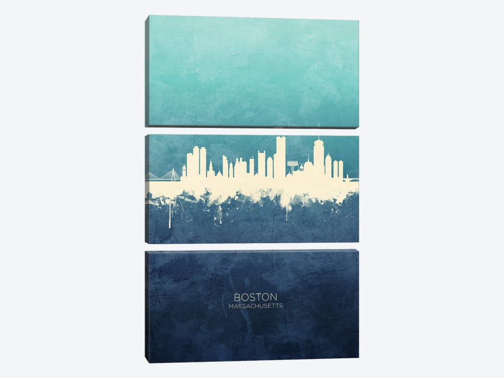 Boston Massachusetts Skyline Navy Cyan by Michael Tompsett 3-piece Canvas Art