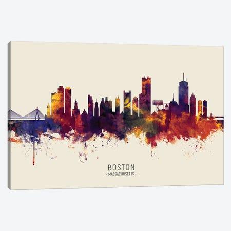 Boston Massachusetts Skyline Red Beige Canvas Print #MTO2502} by Michael Tompsett Art Print