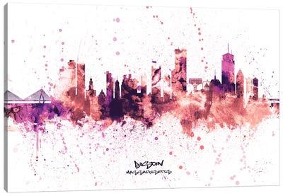 Boston Massachusetts Skyline Splash Pink Canvas Art Print
