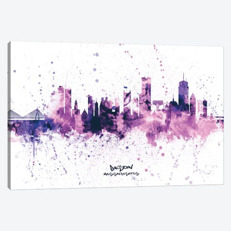 Boston Skyline Splash Purple Canvas Print #MTO2505} by Michael Tompsett Canvas Artwork