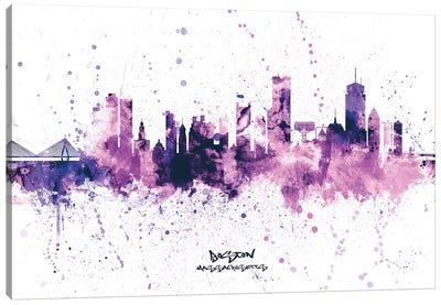 Boston Skyline Splash Purple Canvas Art Print