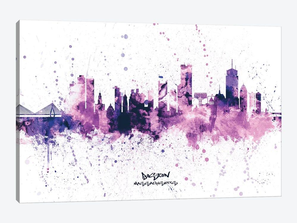 Boston Skyline Splash Purple by Michael Tompsett 1-piece Canvas Art
