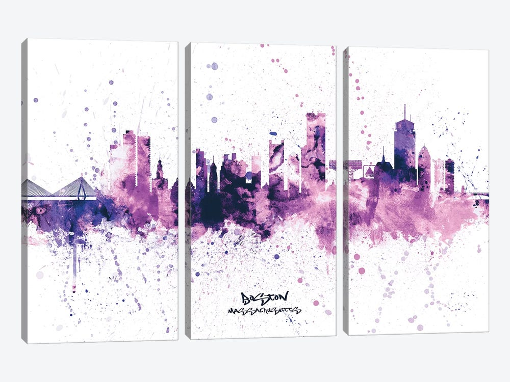Boston Skyline Splash Purple by Michael Tompsett 3-piece Canvas Wall Art