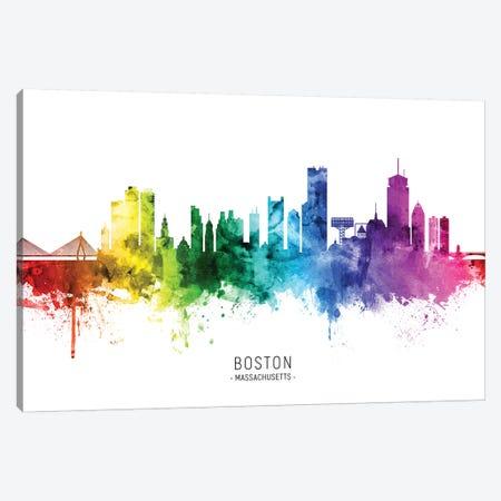Boston Massachusetts Skyline Rainbow Canvas Print #MTO2506} by Michael Tompsett Canvas Wall Art