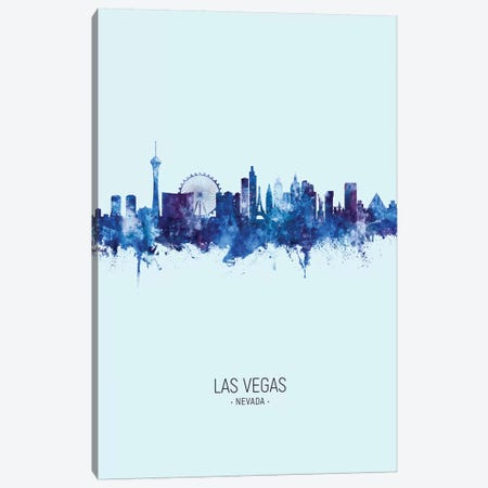 Las Vegas Nevada Skyline Portrait Dark Blue Canvas Print #MTO2507} by Michael Tompsett Canvas Art