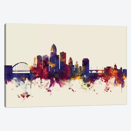 Des Moines, Iowa, USA On Beige Canvas Print #MTO250} by Michael Tompsett Canvas Wall Art