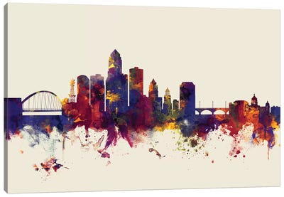Skyline Series: Des Moines, Iowa, USA On Beige Canvas Print #MTO250
