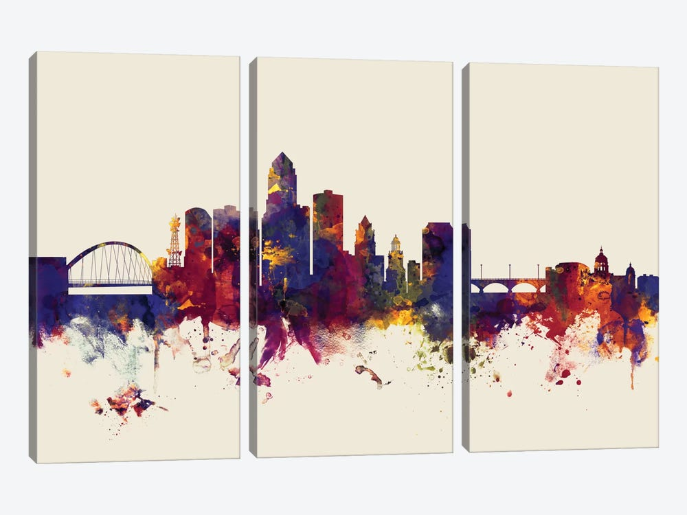 Des Moines, Iowa, USA On Beige by Michael Tompsett 3-piece Canvas Print