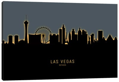 Las Vegas Nevada Skyline Glow Orange Canvas Art Print
