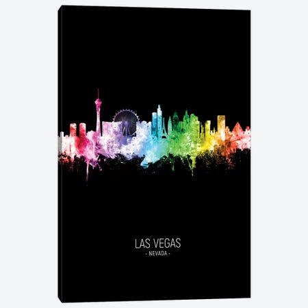 Las Vegas Nevada Skyline Portrait Rainbow Black Canvas Print #MTO2515} by Michael Tompsett Canvas Print