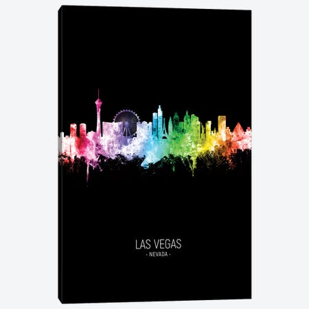 Las Vegas Nevada Skyline Portrait Rainbow Black Canvas Print #MTO2515} by Michael Tompsett Canvas Print