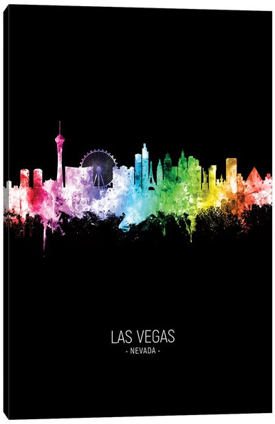 Las Vegas Nevada Skyline Portrait Rainbow Black Canvas Art Print