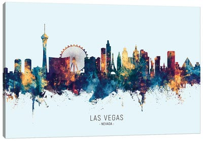 Las Vegas Nevada Skyline Blue Orange Canvas Art Print