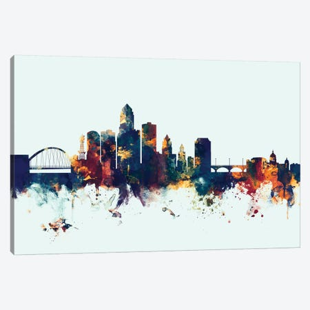 Des Moines, Iowa, USA On Blue Canvas Print #MTO251} by Michael Tompsett Canvas Wall Art
