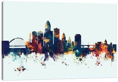 Skyline Series: Des Moines, Iowa, USA On Blue Canvas Print #MTO251