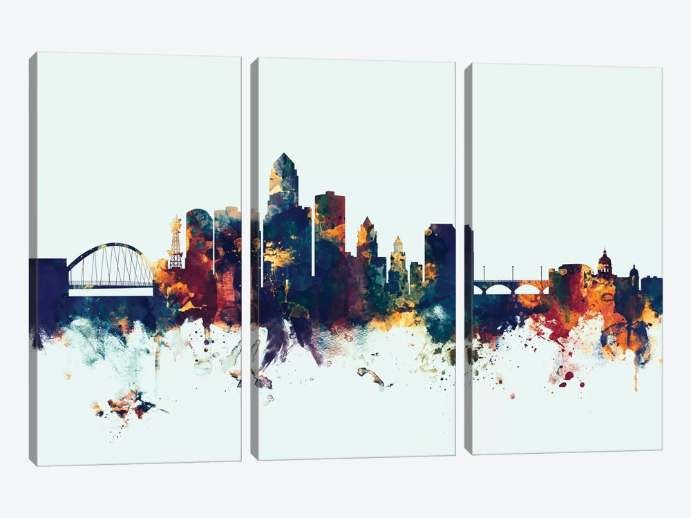Skyline Series: Des Moines, Iowa, USA On Blue by Michael Tompsett 3-piece Canvas Artwork