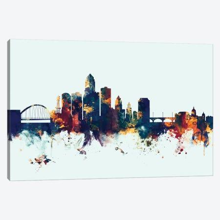 Des Moines, Iowa, USA On Blue Canvas Print #MTO251} by Michael Tompsett Canvas Wall Art