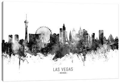 Las Vegas Nevada Skyline Name Black And White Canvas Art Print
